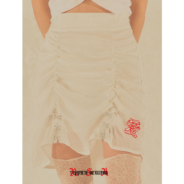 202-H&I SHIRRING SATIN SKIRT - WHITE